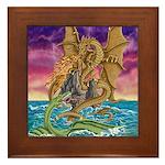 Dragon Battle Framed Tile