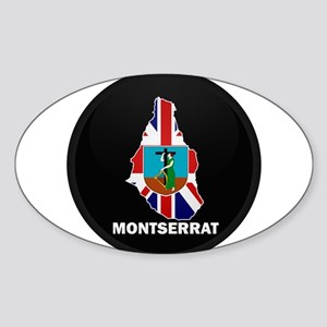 Flag Map of Montserrat Oval Sticker