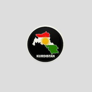 Flag Map of Kurdistan Mini Button