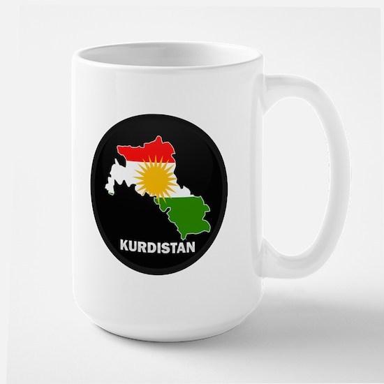 Flag Map of Kurdistan Large Mug