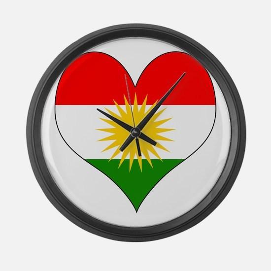 I Love Kurdistan Large Wall Clock