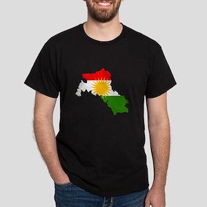 Kurdistan Flag Map Dark T-Shirt