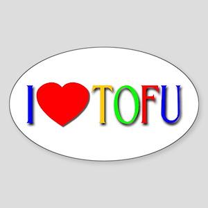 I Love Tofu Oval Sticker