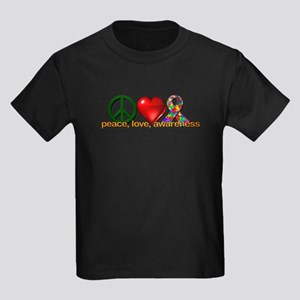 Peace, Love, Awareness Kids Dark T-Shirt