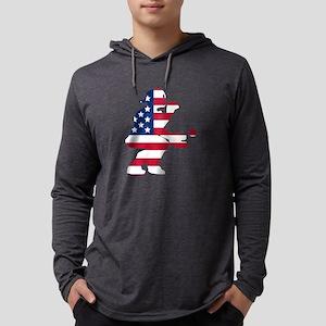 Baseball Catcher American Flag Long Sleeve T-Shirt