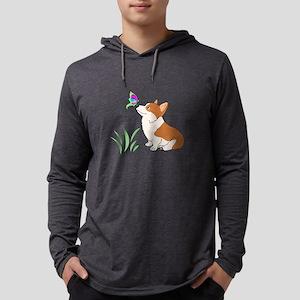 Corgi with butterfly Long Sleeve T-Shirt