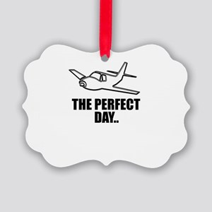 flying airplane Picture Ornament