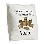 Christmas Kubb Burlap Throw Pillow