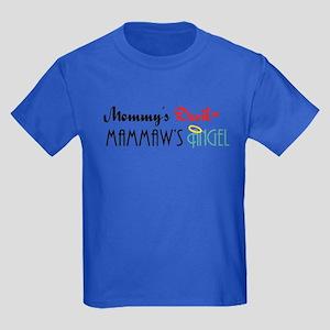 Mommy's Devil, Mammaw's Angel Kids Dark T-Shirt