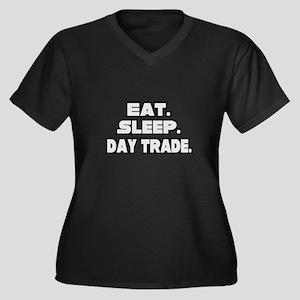 """Eat. Sleep. Day Trade."" Women's Plus Size V-Neck"