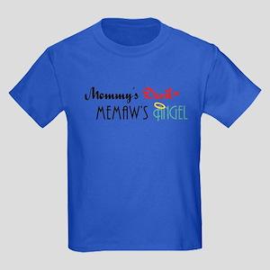 Mommy's Devil, Memaw's Angel Kids Dark T-Shirt