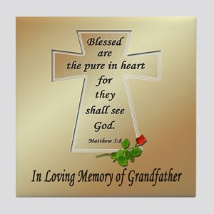 In Loving Memory of Grandfather Tile Coaster