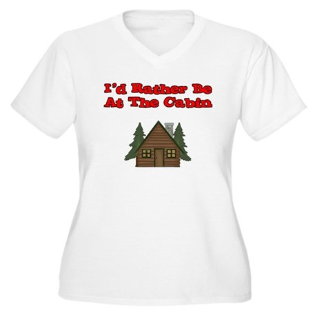 I'd Rather Be At The Cabin Women's Plus Size V-Nec