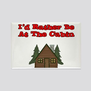I'd Rather Be At The Cabin Rectangle Magnet