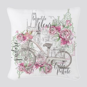 Shabby Chic Bicycle Peony Woven Throw Pillow
