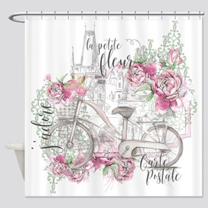 Shabby Chic Bicycle Peony Shower Curtain