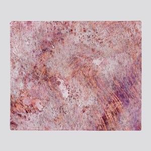 Pink Rose Gold Marble Watercolor Throw Blanket