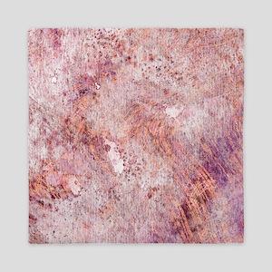 Pink Rose Gold Marble Watercolor Queen Duvet