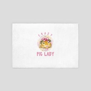 Crazy Pig Lady Cavy Guinea Pig Domesti 4' x 6' Rug