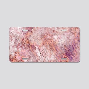 Pink Rose Gold Marble Water Aluminum License Plate