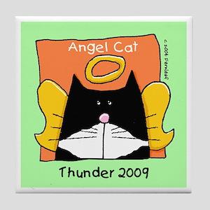 Tuxedo Angel Cat THUNDER Tile Coaster