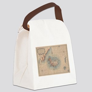 Vintage Map of Iceland (1767) Canvas Lunch Bag