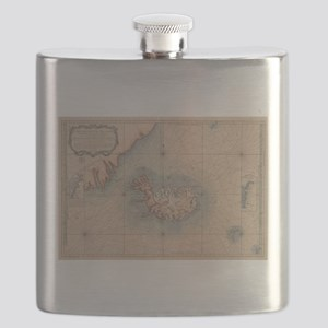 Vintage Map of Iceland (1767) Flask