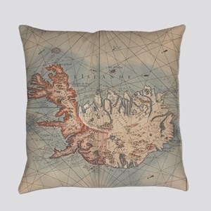 Vintage Map of Iceland (1767) Everyday Pillow