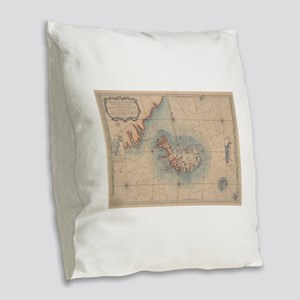 Vintage Map of Iceland (1767) Burlap Throw Pillow
