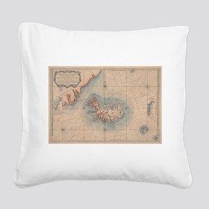 Vintage Map of Iceland (1767) Square Canvas Pillow