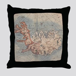 Vintage Map of Iceland (1767) Throw Pillow