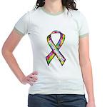 3D Puzzle Ribbon Jr. Ringer T-Shirt