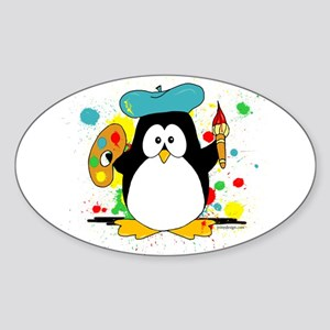Artistic Penguin Sticker (Oval)