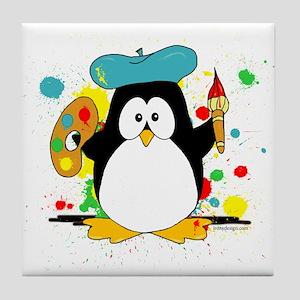 Artistic Penguin Tile Coaster