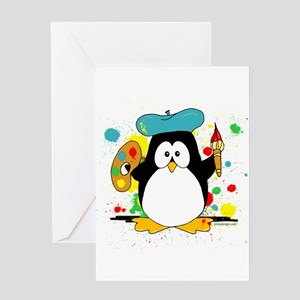 Artistic Penguin Greeting Card