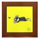 Boston terrier butterfly Framed Tiles