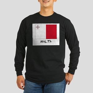 Malta Flag Long Sleeve Dark T-Shirt