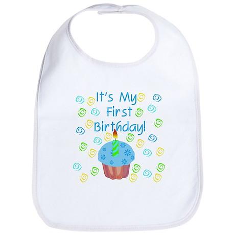Cupcake First Birthday (Blue) Bib