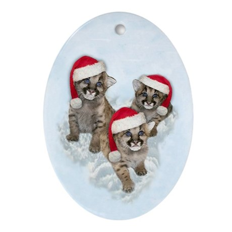 Mountain Lion Cubs Oval Ornament