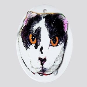 Big Eyes Cat Oval Ornament