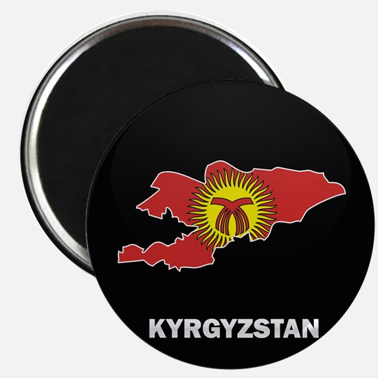 Flag Map of Kyrgyzstan Magnet