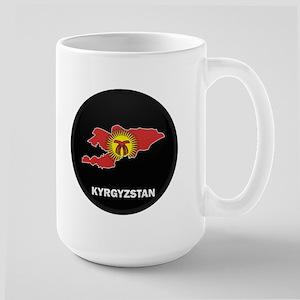 Flag Map of Kyrgyzstan Large Mug