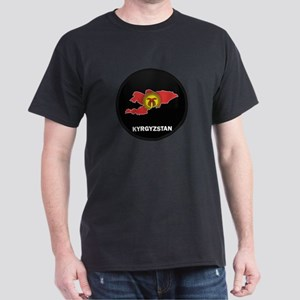 Flag Map of Kyrgyzstan Dark T-Shirt