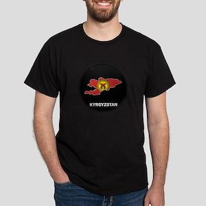 Flag Map of Kyrgyzstan Dark T-Shirt