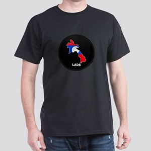 Flag Map of Laos Dark T-Shirt