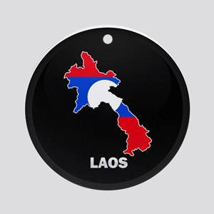 Flag Map of Laos Ornament (Round)