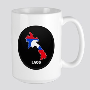 Flag Map of Laos Large Mug