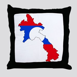 Laos Flag Map Throw Pillow
