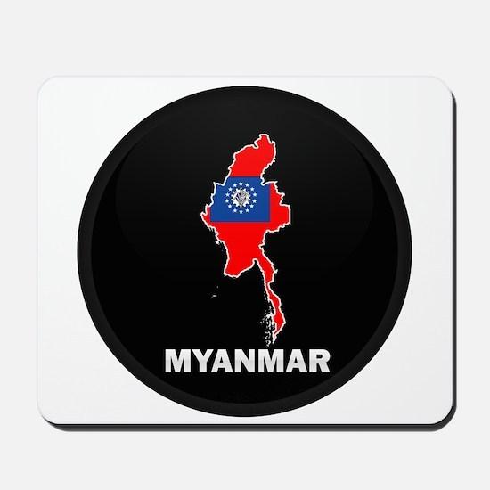 Flag Map of myanmar Mousepad