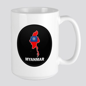 Flag Map of myanmar Large Mug